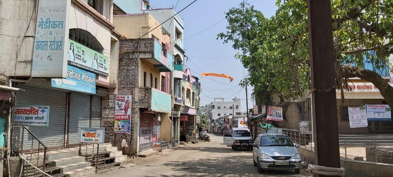 A deserted market area in Shamsherpur, Maharashtra